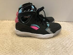 newest 03920 bfe22 Image is loading NIKE-FLIGHT-HUARACHE-GS-705281-003-BLACK-RETRO-
