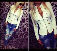 Fashion Women Casual PU Leather Jacket Ladies Sexy Button Slim Zipper Up Coat