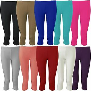 New Womens Plus Size Plain 3//4 Cropped Viscose Leggings 12-30