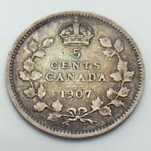1907-Canada-Small-5-Five-Cents-Silver-Circulated-Canadian-Coin-E780