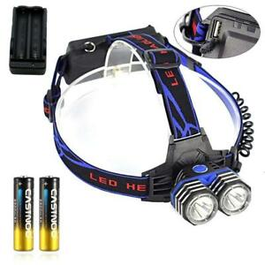 T6 LED Rechargeable Headlamp Headlight USB Port++Battery+Charger BR