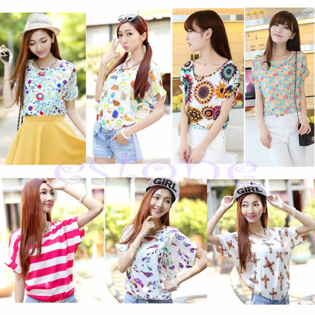 LADY'S COOL SUMMER CASUAL SHORT SLEEVE HEART PRINTED CHIFFON T-SHIRT TOPS BLOUSE