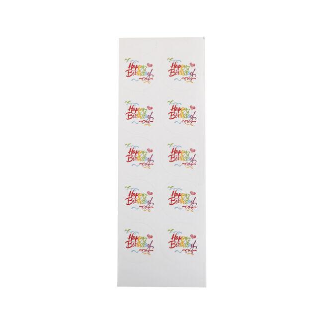 100x rainbow happy birthday kraft seal sticker diy package gift