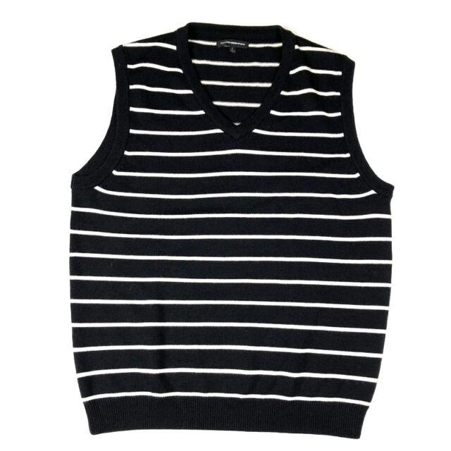 355a7f09e29a5b Express Design Studio Mens Large Merino Wool Black White Stripe Sweater  Vest m0p