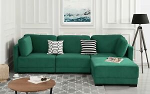 Details about Modern Green Upholstered Velvet Fabric Sectional Sofa L-Shape  Reversible Ottoman
