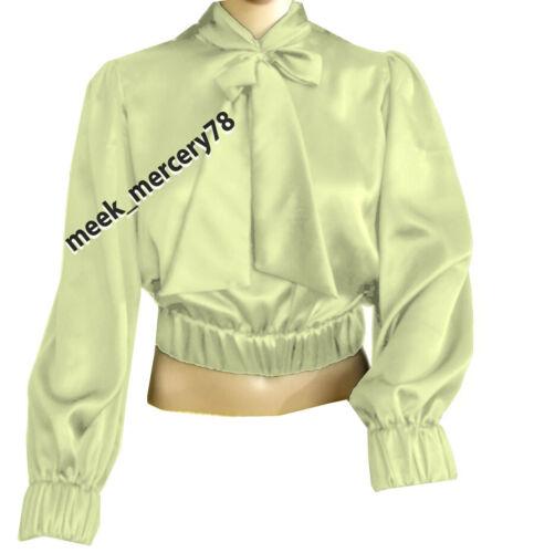 Satin Shirt Vintage wear satin Bow Shirt Office wear party wear Bow Blouse S 27