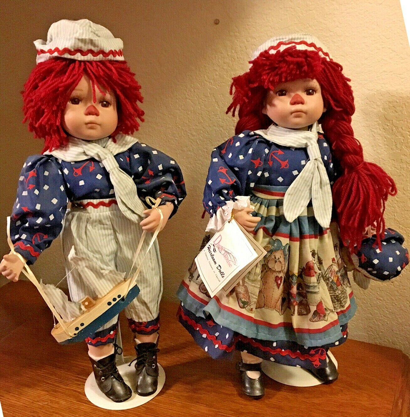 "Raggedy Ann Andy Porcelain Doll Set 17"" Tall Teddy Bear Sailboat Collectibles"