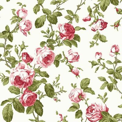 LUXURY RED PINK ROSE FLOWER FLORAL GREEN LEEF FEATURE DESIGNER WALLPAPER FD40171