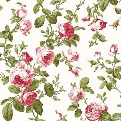 LUXURY RED PINK ROSE FLOWER FLORAL GREEN LEEF FEATURE DESIGNER WALLPAPER FD40171