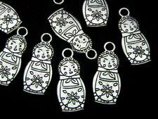 15 Pcs Tibetan Silver Russian Doll Charms Beads Jewellery Craft Matrioshka C22