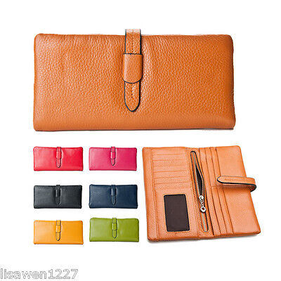 Soft Nautral 100% Genuine Leather Soft Cowhide Wallet Purse Coins Photo Holder