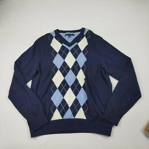 Tommy-Hilfiger-Men-039-s-Sweater-Medium-Navy-Blue-V-Neck-Pullover-Long-Sleeves