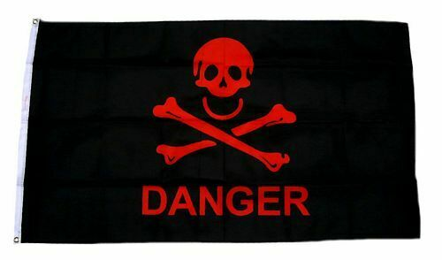 Fahne Danger Totenkopf gelb Hissflagge 90 x 150 cm Flagge
