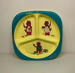 Vintage-1992-Barney-Loves-To-Paint-three-compartments-Plate-Selandia