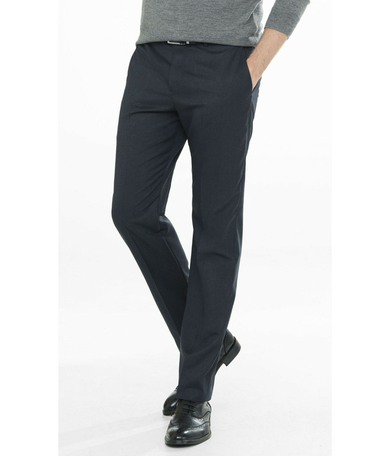 NEW EXPRESS  NAVY PRODUCER MICRO PRINT WOOL BLEND DRESS PANT SZ 31 32