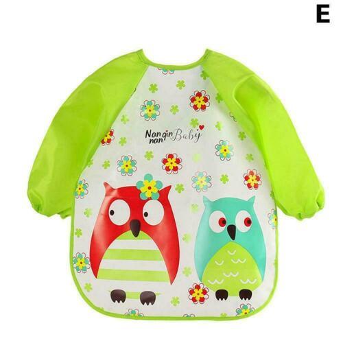 Baby Kids Waterproof Clothes Long Sleeve Bibs Apron Feeding Smock Cartoon D8R3