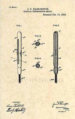 Vintage Antique Nurse Doctor 219 Official 1898 Thermometer US Patent Art Print