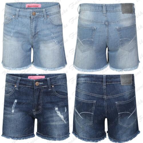 Onorevoli donne Denim Jeans RIPPED Volant Estate Mini Shorts Hot Pants Taglie 8-16