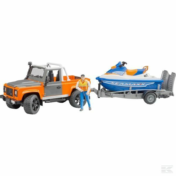 Bruder Land Rover With Trailer, Personal Water Craft And Driver 1 16 Scale Model
