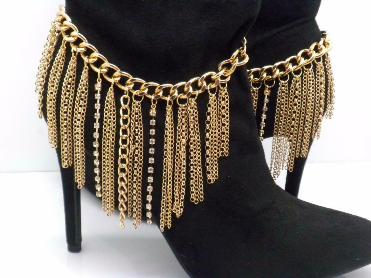 Boot Chain Straps Gold Tone Pair Anklet New 12