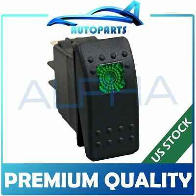 Waterproof Green LED Light Rocker Switch On//Off Boat Marine Electrical 3 Pins