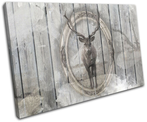 Shabby Chic Stag Wood Gift Deer Vintage SINGLE CANVAS WALL ART Picture Print