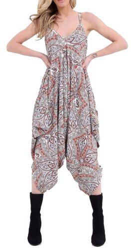 Ladies Lagenlook Printed Baggy Romper Womens Strappy Harem Jumpsuit PlaySuit