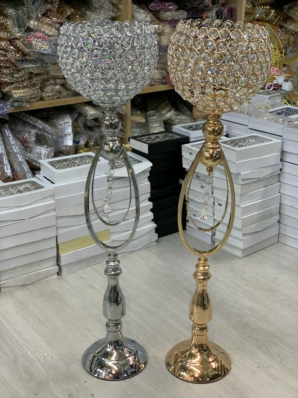 Candle Holder Floor Stand Crystal Jewel Gem Diamante Sphere Modern Venetian new