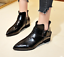 Womens-Ankle-Boots-Pointy-Toe-Slip-On-Patent-Leather-Buckle-Low-Block-Heel-Size thumbnail 4