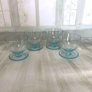 Retro-Vintage-four-Glass-Dessert-Cup-Bowl-Blue-Coloured-1960-039-s