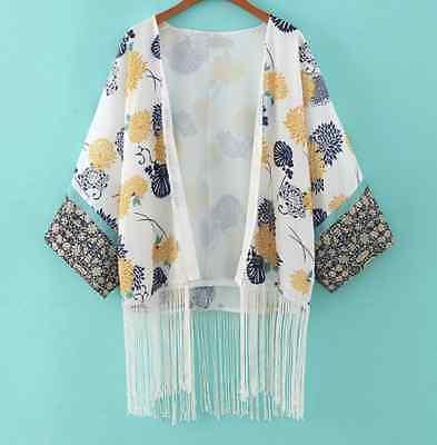 Boho Kimono Bohemian Hippy Turkish Retro 60s Beach Jacket Coverup Tassel Floral