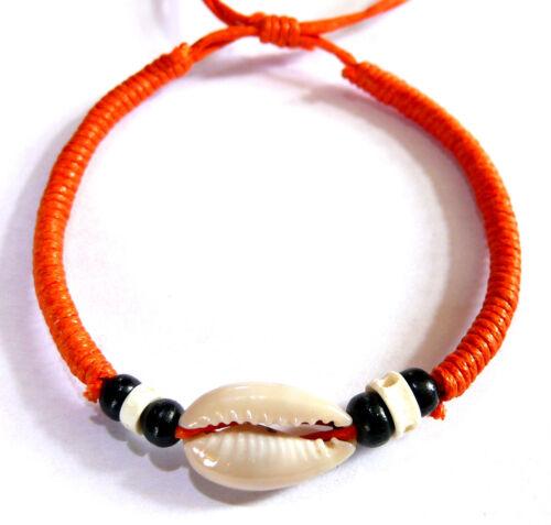 Bracelet Brésilien Coquillage Cauri Amitié Coton Friendship Macramé ORANGE