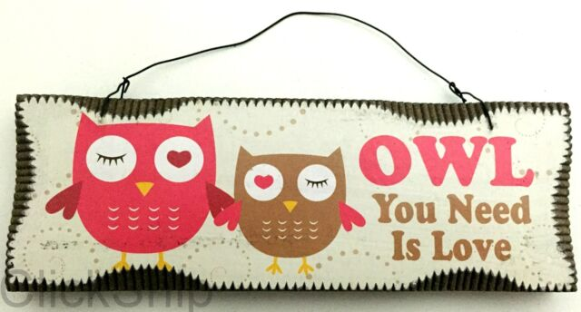 "Wooden Sign Hanging Decor 18cm 2 Owls ""Owl You Need Is Love"" C-1011"