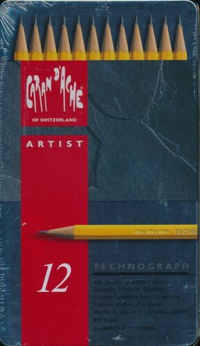 Caran D/'Ache Dache Artist 12 piece Technograph tin case NEW Swiss made