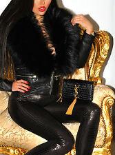 DELUXE Profondo Nero Vero Argento SAGA FOX vera pelliccia stola scialle collo sciallato XL