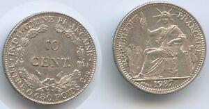 G6233-Franzoesisch-Indochina-10-Cents-1937-KM-16-2-Silber-RAR-French-Indochina