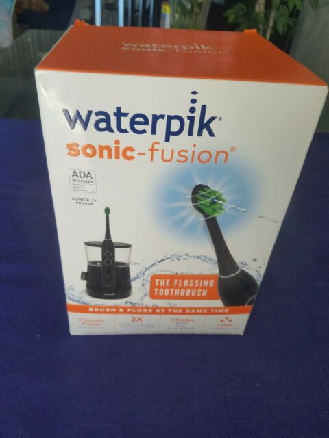 New Complete Waterpik SF-01W022-2 Sonic Fusion Flossing Toothbrush - Black