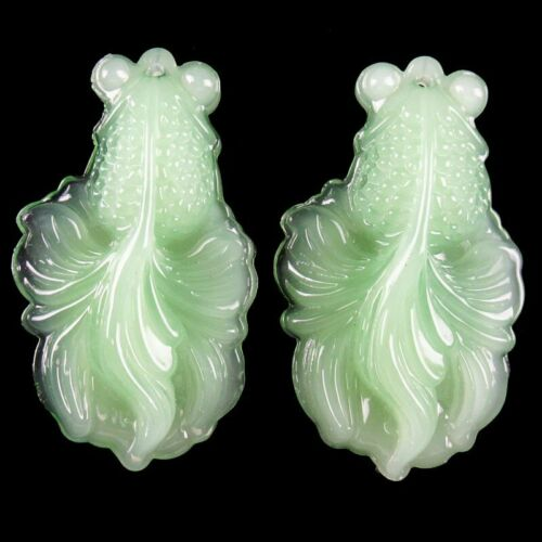 2Pcs 52x31x11mm Carved Cyan Jade Goldfish Pendant Bead HA13JY