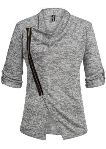 50/% OFF B15020389 Damen Madonna Jacke Cardigan Turn-Up Kontrast Zipper grau weiß