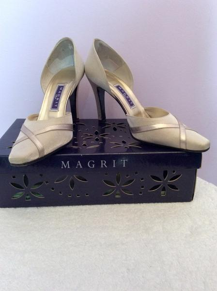 MAGRIT PALE GOLD SATIN & LEATHER TRIM HEELS SIZE 3/36 WORN LIGHTLY ONCE