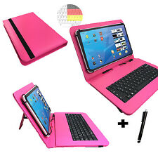 9.6 zoll Qwertz Tablet Tasche - Huawei MediaPad T1 10.0 Hülle - Tastatur Pink