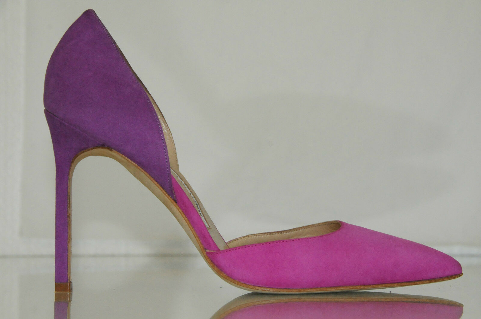 735 New Manolo Blahnik Tayler TAYLERBI Suede Pink Purple Pumps Dorsay shoes 37
