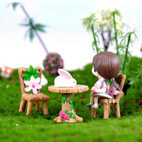 3X Floral Table Chairs Miniature Fairy Garden Landscape Dollhouse Decoratio