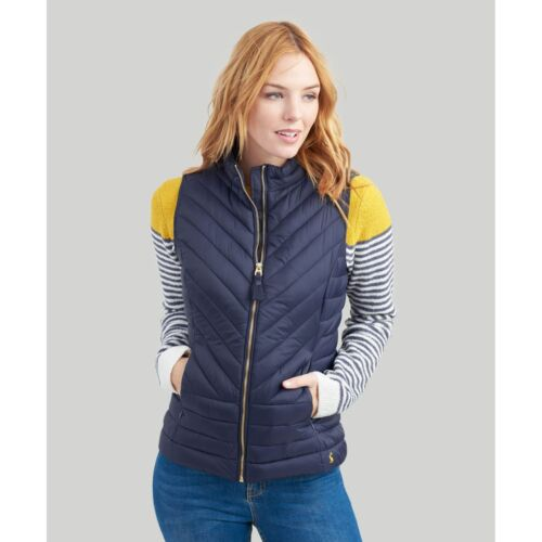 Joules Women/'s Brindley Quilted Gilet Navy Zipped pockets