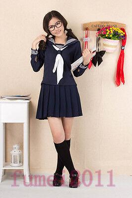 Japanese High School Girl Blue Long-Sleeved Uniform Japan Costume Cosplay NEW