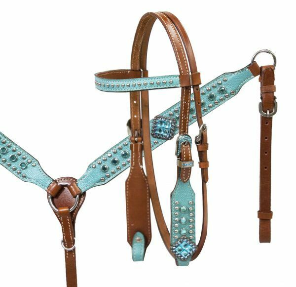 mostrareuomo PONY Diuominiione TURQUOISE Stone & Leather Bridle Breast Collar & Reins SET