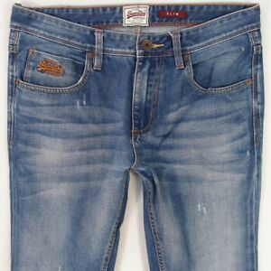 Superdry Slim L34 W32 Blue Jeans Mens vqwx81dA1