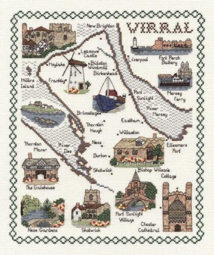 Map /& Sights of The Wirral Classic 14ct Counted Cross Stitch Kit