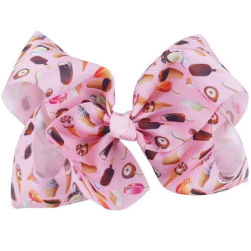 "7/"" Sweet Girls/' Kids Large Knot Bow Ribbon Hair clips Flamingo Printed Hair Bows"