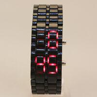 Men Women Lava Samurai Iron Watch LED Digital Faceless Bracelet Wristwatch Black